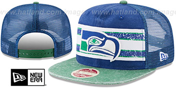Seahawks HERITAGE-STRIPE SNAPBACK Royal-Green Hat by New Era