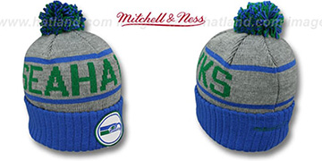 Seahawks 'HIGH-5 BEANIE' Grey-Royal Knit Hat by Mitchell and Ness