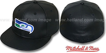 Seahawks LEATHER THROWBACK Fitted Hat by Mitchell and Ness