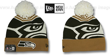 Seahawks LOGO WHIZ Brown-Wheat Knit Beanie Hat by New Era