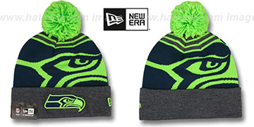 Seahawks 'LOGO WHIZ' Charcoal-Lime Knit Beanie Hat by New Era