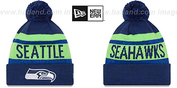 Seahawks METALLIC STRIPE Navy-Lime Knit Beanie Hat by New Era