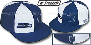 Seahawks NFC DOUBLE LOGO White-Slate Fitted Hat by Reebok