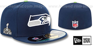 Seahawks 'NFL SUPER BOWL XLVIII ONFIELD' Navy Fitted Hat by New Era