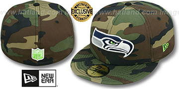 Seahawks NFL TEAM-BASIC Army Camo Fitted Hat by New Era