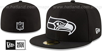 Seahawks NFL TEAM-BASIC Black-White Fitted Hat by New Era