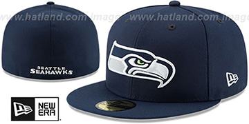 Seahawks 'NFL TEAM-BASIC' Navy Fitted Hat by New Era