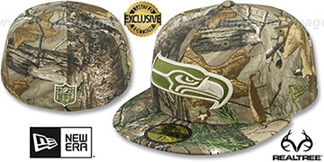 Seahawks NFL TEAM-BASIC Realtree Camo Fitted Hat by New Era
