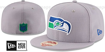 Seahawks 'NFL THROWBACK WOOL-STANDARD' Grey Fitted Hat by New Era