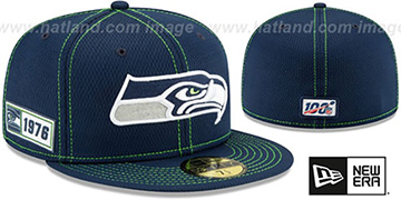 Seahawks ONFIELD SIDELINE ROAD Navy Fitted Hat by New Era
