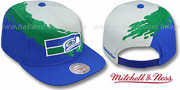 Seahawks 'PAINTBRUSH SNAPBACK' Grey-Green-Royal Hat by Mitchell and Ness