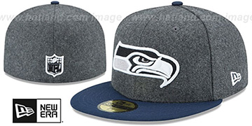 Seahawks 'SHADER MELTON' Grey-Navy Fitted Hat by New Era