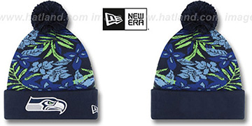 Seahawks 'SNOW-TROPICS' Navy Knit Beanie Hat by New Era