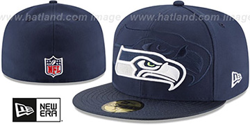 Seahawks STADIUM SHADOW Navy Fitted Hat by New Era