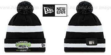 Seahawks SUPER BOWL XLVIII CHAMPS  Black-White Knit Beanie Hat by New Era
