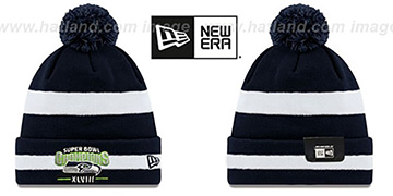 Seahawks SUPER BOWL XLVIII CHAMPS  Navy-White Knit Beanie Hat by New Era
