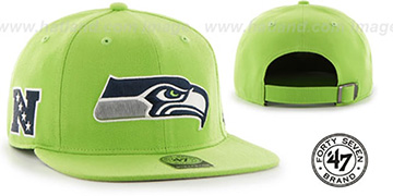 Seahawks 'SUPER-SHOT STRAPBACK' Lime Hat by Twins 47 Brand