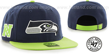 Seahawks SUPER-SHOT STRAPBACK Navy-Lime Hat by Twins 47 Brand