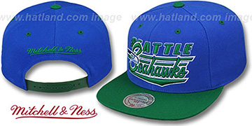 Seahawks 'TAILSWEEP SNAPBACK' Royal-Green Hat by Mitchell and Ness