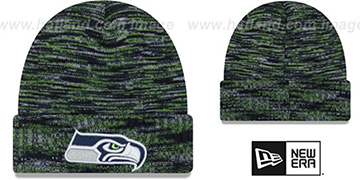 Seahawks TEAM-CRAZE Navy-Lime Knit Beanie Hat by New Era