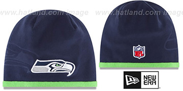 Seahawks TECH-KNIT STADIUM Navy-Lime Knit Beanie Hat by New Era