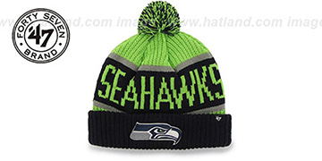 Seahawks THE-CALGARY Navy-Lime Knit Beanie Hat by Twins 47 Brand