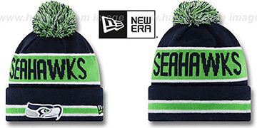 Seahawks THE-COACH Navy Knit Beanie Hat by New Era
