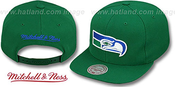 Seahawks 'THROWBACK-BASIC SNAPBACK' Green Hat by Mitchell & Ness