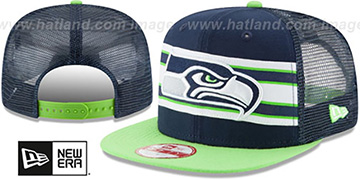 Seahawks 'THROWBACK-STRIPE SNAPBACK' Navy-Lime Hat by New Era