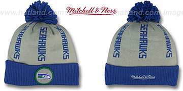 Seahawks VERTICAL WORD BEANIE Grey-Royal by Mitchell and Ness