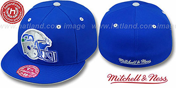 Seahawks XL-HELMET Royal Fitted Hat by Mitchell & Ness