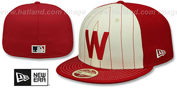 Senators VINTAGE-STRIPE White-Red Fitted Hat by New Era