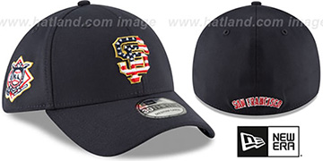SF Giants 2018 JULY 4TH STARS N STRIPES FLEX Navy Hat by New Era