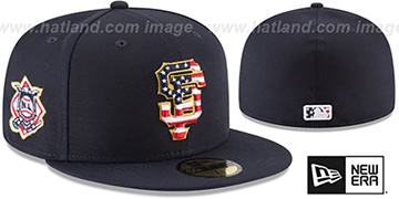 SF Giants '2018 JULY 4TH STARS N STRIPES' Navy Fitted Hat by New Era