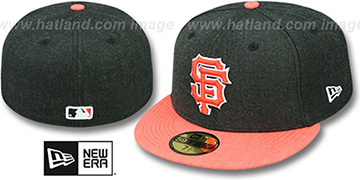 SF Giants 2T-HEATHER ACTION Charcoal-Orange Fitted Hat by New Era