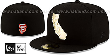 SF Giants ALL GOLD STATED METAL-BADGE Black Fitted Hat by New Era