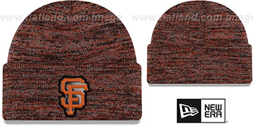 SF Giants BEVEL Orange-Black Knit Beanie Hat by New Era