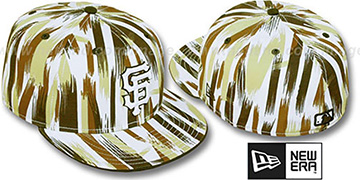 SF Giants BRUSH STROKES White-Brown Fitted Hat by New Era