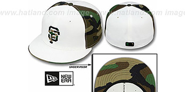 SF Giants COLOR BLOCK White-Army Camo Fitted Hat by New Era