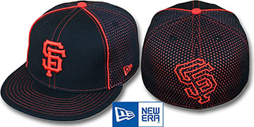 SF Giants 'CONTRAST BP-MESH' Black Fitted Hat by New Era
