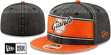 SF Giants COOPERSTOWN HERITAGE-BAND Black-Orange Fitted Hat by New Era