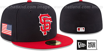 SF Giants COUNTRY COLORS Navy-Red Fitted Hat by New Era