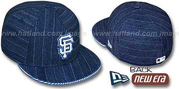 SF Giants 'DENIM BLUSTRIPE' Fitted Hat by New Era - navy