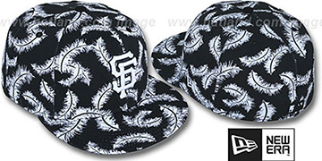 SF Giants 'FEATHERS' Black-White Fitted Hat by New Era