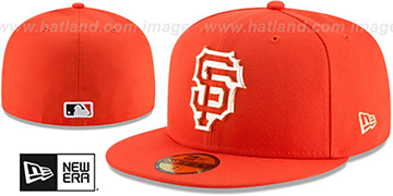 SF Giants 'GOLD FRAMED METAL-BADGE' Orange Fitted Hat by New Era