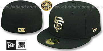 SF Giants GOLD METAL-BADGE Black Fitted Hat by New Era