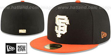 SF Giants GOLDEN-BADGE Black-Orange Fitted Hat by New Era