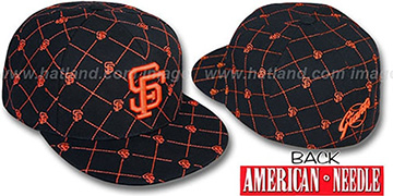 SF Giants KINGSTON ALL-OVER Black-Orange Fitted Hat by American Needle