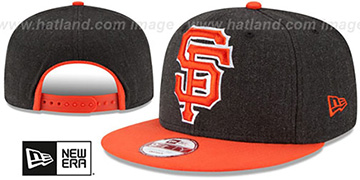 SF Giants LOGO GRAND SNAPBACK Charcoal-Orange Hat by New Era
