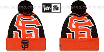 SF Giants LOGO WHIZ Black-Orange Knit Beanie Hat by New Era